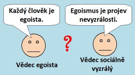 """Smajlíci -vědci, egoista """"Každý člověk je egoista"""", sociálně vyzrálý """"Egoismus je projev nevyzrálosti."""""""
