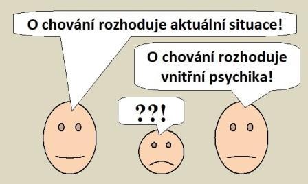 """Smajlíci se hádají: """"O chování rozhoduje především aktuální situace!""""""""O chování rozhoduje především vnitřní psychika!"""""""